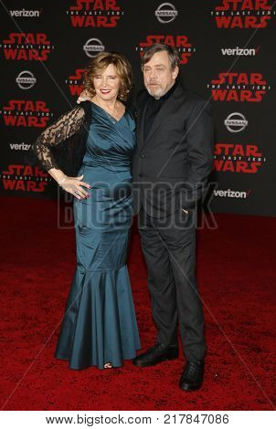 Mark Hamill and Marilou Hamill at the World premiere of 'Star Wars: The Last Jedi' held at the Shrine Auditorium in Los Angeles, USA on December 9, 2017.