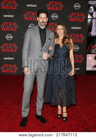 Sofia Vergara and Joe Manganiello at the World premiere of 'Star Wars: The Last Jedi' held at the Shrine Auditorium in Los Angeles, USA on December 9, 2017.