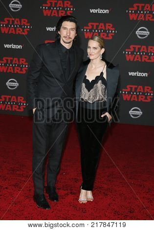 Adam Driver and Joanne Tucker at the World premiere of 'Star Wars: The Last Jedi' held at the Shrine Auditorium in Los Angeles, USA on December 9, 2017.
