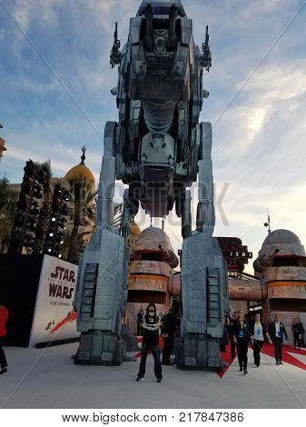 Tuukka Jantti standing at the front of All Terrain Armored Transport at the World premiere of 'Star Wars: The Last Jedi' held at the Shrine Auditorium in Los Angeles, USA on December 9, 2017.