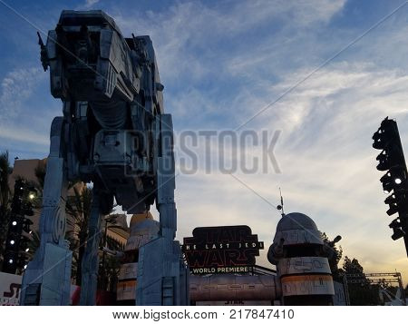 All Terrain Armored Transport at the World premiere of 'Star Wars: The Last Jedi' held at the Shrine Auditorium in Los Angeles, USA on December 9, 2017.