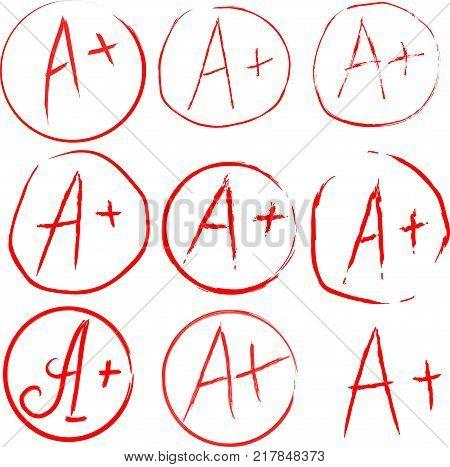 Set of Grades at School. Grade Results in red. Vector Illustration