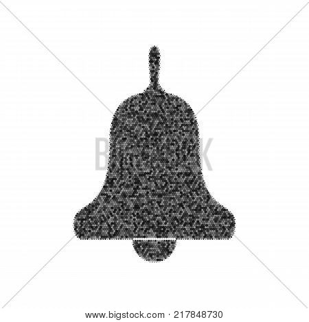 Bell Alarm, hand bell sign. Vector. Black icon from many ovelapping circles with random opacity on white background. Noisy. Isolated.