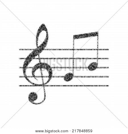 Music violin clef sign. G-clef and notes G, H. Vector. Black icon from many ovelapping circles with random opacity on white background. Noisy. Isolated.