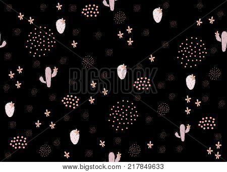 Seamless girlish cute pattern with cacti hearts and grouped dots. Vector Illustration