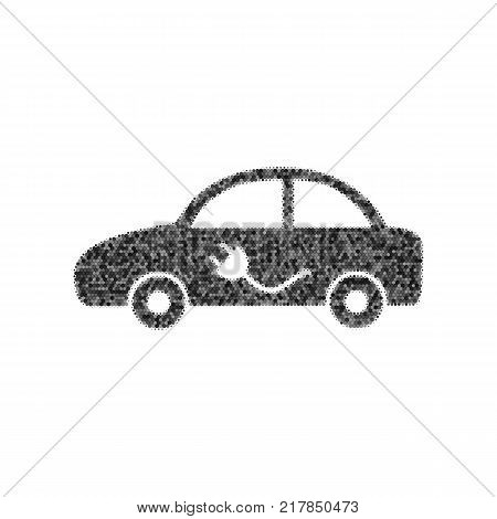 Electric car sign. Vector. Black icon from many ovelapping circles with random opacity on white background. Noisy. Isolated.