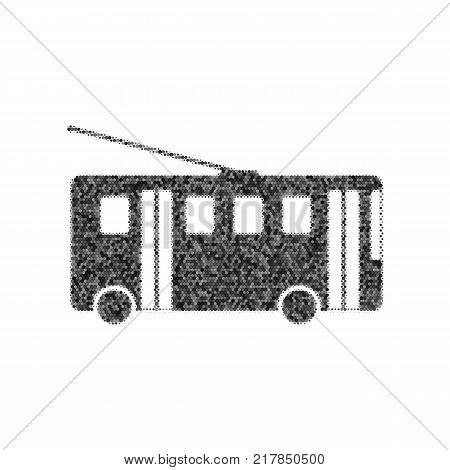 Trolleybus sign. Vector. Black icon from many ovelapping circles with random opacity on white background. Noisy. Isolated.