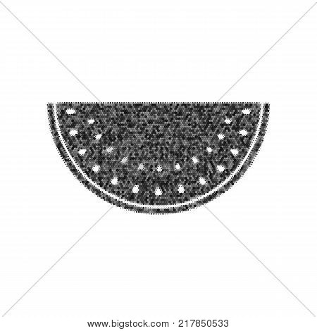 Watermelon sign. Vector. Black icon from many ovelapping circles with random opacity on white background. Noisy. Isolated.