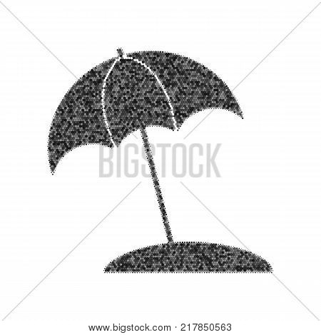 Umbrella and sun lounger sign. Vector. Black icon from many ovelapping circles with random opacity on white background. Noisy. Isolated.