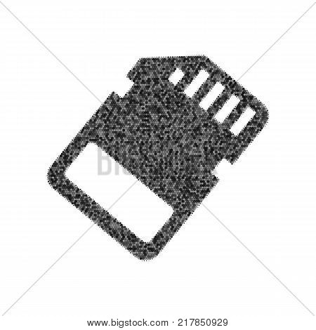 Memory card sign. Vector. Black icon from many ovelapping circles with random opacity on white background. Noisy. Isolated.