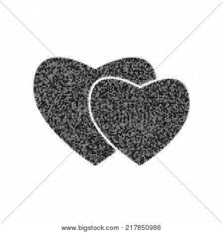 Two hearts sign. Vector. Black icon from many ovelapping circles with random opacity on white background. Noisy. Isolated.