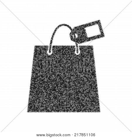 Shopping bag sign with tag. Vector. Black icon from many ovelapping circles with random opacity on white background. Noisy. Isolated.