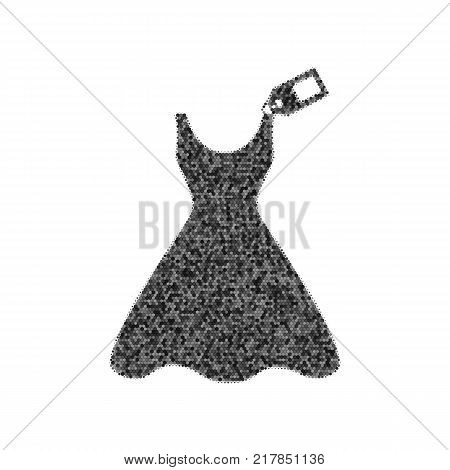 Woman dress sign with tag. Vector. Black icon from many ovelapping circles with random opacity on white background. Noisy. Isolated.