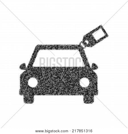 Car sign with tag. Vector. Black icon from many ovelapping circles with random opacity on white background. Noisy. Isolated.