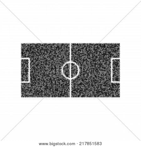 Soccer field. Vector. Black icon from many ovelapping circles with random opacity on white background. Noisy. Isolated.