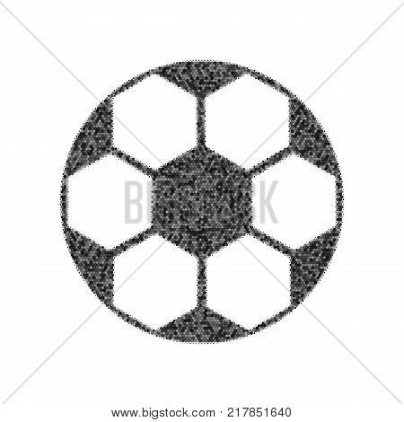Soccer ball sign. Vector. Black icon from many ovelapping circles with random opacity on white background. Noisy. Isolated.