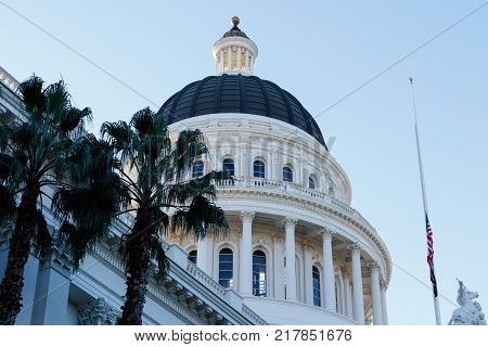 Rotunda of the California state capital building in the early morning light, Sacramento