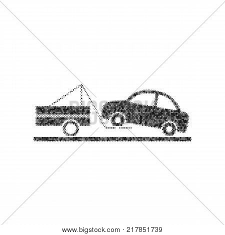 Tow truck sign. Vector. Black icon from many ovelapping circles with random opacity on white background. Noisy. Isolated.