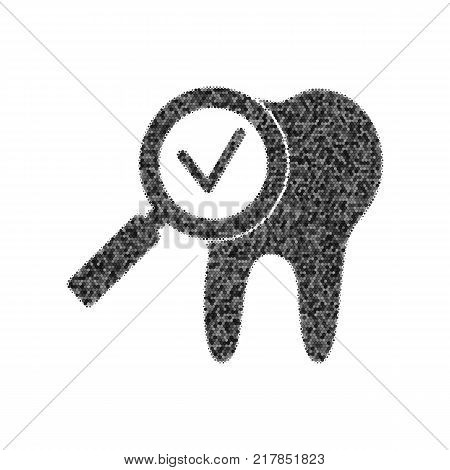 Tooth icon with arrow sign. Vector. Black icon from many ovelapping circles with random opacity on white background. Noisy. Isolated.
