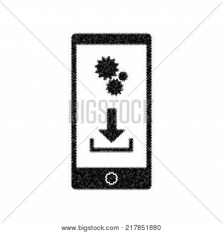 Phone settings. Download and install apps. Vector. Black icon from many ovelapping circles with random opacity on white background. Noisy. Isolated.