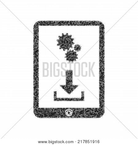 Phone icon with settings symbol. Vector. Black icon from many ovelapping circles with random opacity on white background. Noisy. Isolated.