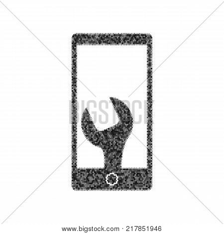 Phone icon with settings. Vector. Black icon from many ovelapping circles with random opacity on white background. Noisy. Isolated.