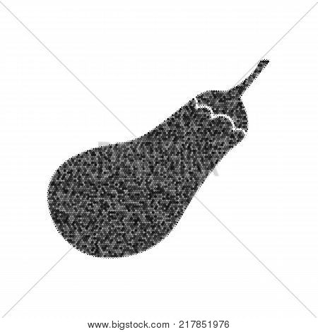 Eggplant sign. Salad ingredient. Healthy vegetable. Vector. Black icon from many ovelapping circles with random opacity on white background. Noisy. Isolated. poster