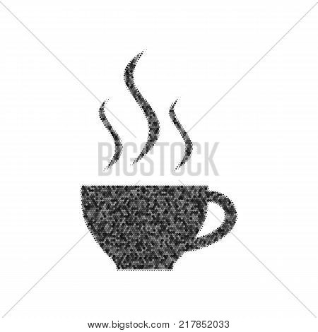 Cup sign with three small streams of smoke. Vector. Black icon from many ovelapping circles with random opacity on white background. Noisy. Isolated.