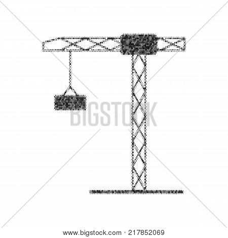 Construction crane sign. Vector. Black icon from many ovelapping circles with random opacity on white background. Noisy. Isolated.