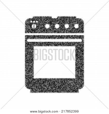 Stove sign. Vector. Black icon from many ovelapping circles with random opacity on white background. Noisy. Isolated.