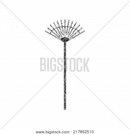 Lawn rake sign. Vector. Black icon from many ovelapping circles with random opacity on white background. Noisy. Isolated.