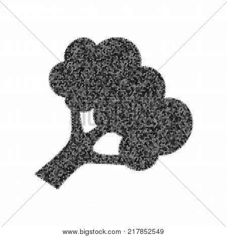 Broccoli branch sign. Vector. Black icon from many ovelapping circles with random opacity on white background. Noisy. Isolated.