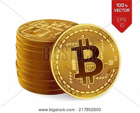 Bitcoin. 3D isometric Physical bit coin. Digital currency. Cryptocurrency. Stack of golden coins with bitcoin symbol isolated on white background. Stock vector illustration