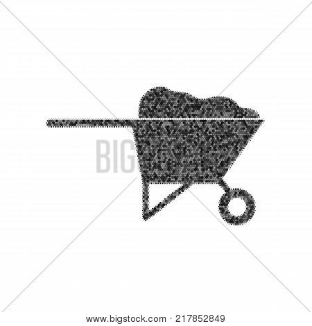 Garden wheelbarrow sign illustration. Vector. Black icon from many ovelapping circles with random opacity on white background. Noisy. Isolated.