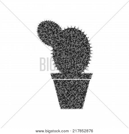Cactus sign illustration. Vector. Black icon from many ovelapping circles with random opacity on white background. Noisy. Isolated.
