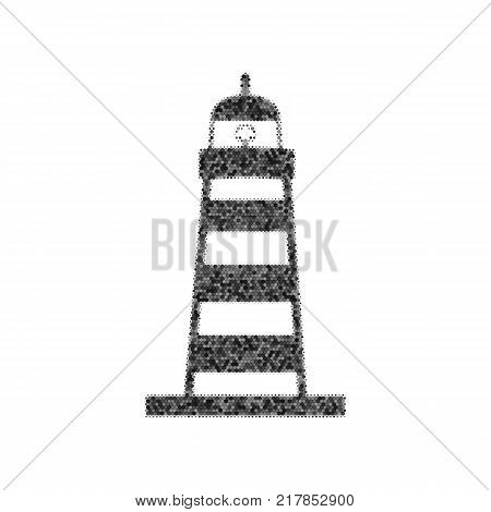Lighthouse sign illustration. Vector. Black icon from many ovelapping circles with random opacity on white background. Noisy. Isolated.