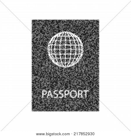 Passport sign illustration. Vector. Black icon from many ovelapping circles with random opacity on white background. Noisy. Isolated.