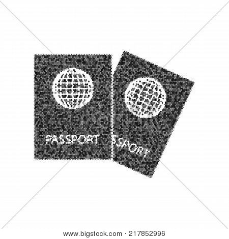 Two passports sign illustration. Vector. Black icon from many ovelapping circles with random opacity on white background. Noisy. Isolated.