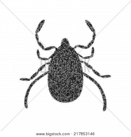 Dust mite sign illustration. Vector. Black icon from many ovelapping circles with random opacity on white background. Noisy. Isolated.