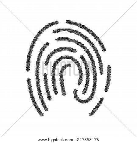 Fingerprint sign illustration. Vector. Black icon from many ovelapping circles with random opacity on white background. Noisy. Isolated.
