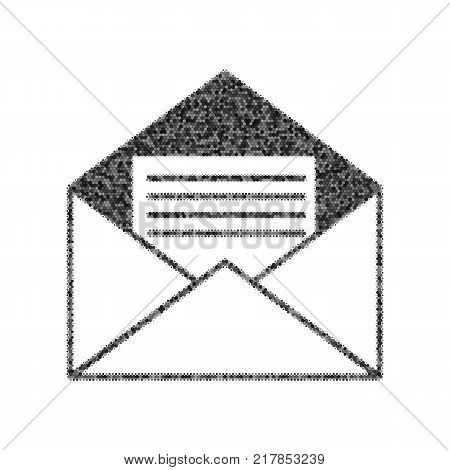 Letter in an envelope sign illustration. Vector. Black icon from many ovelapping circles with random opacity on white background. Noisy. Isolated.