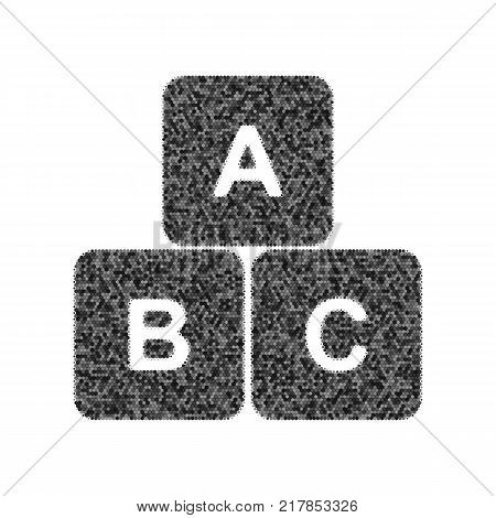 ABC cube sign illustration. Vector. Black icon from many ovelapping circles with random opacity on white background. Noisy. Isolated.