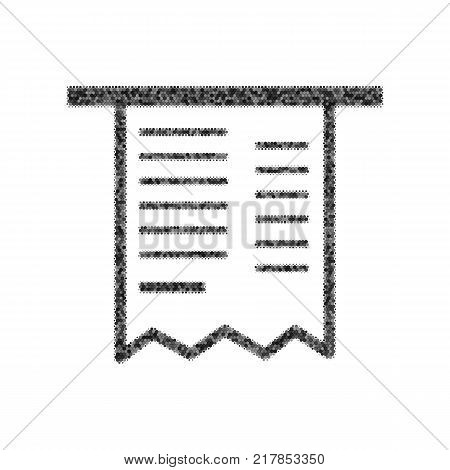 Paying bills concept. Payment of utility, bank, restaurant and other bills sign illustration. Vector. Black icon from many ovelapping circles with random opacity on white background. Noisy. Isolated.