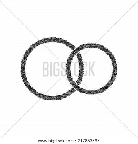 Wedding rings sign. Vector. Black icon from many ovelapping circles with random opacity on white background. Noisy. Isolated.
