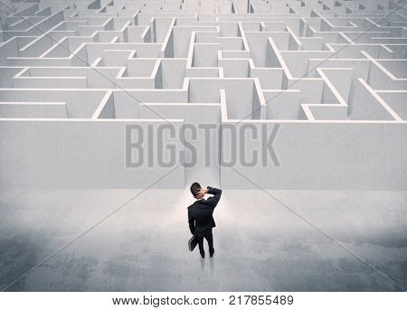 A good looking businessman with briefcase standing in front of white labirynth entrance about to make a decision concept