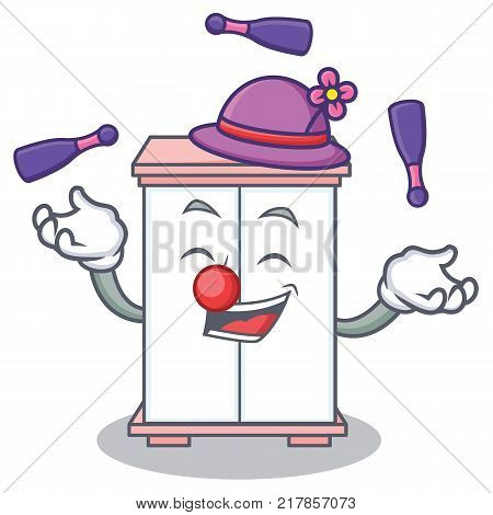 Juggling cabinet character cartoon style vector illustration