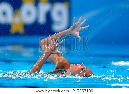 BARCELONA, SPAIN - JULY, 24: Ona Carbonell of Spain during a Solo Synchronised Swimming event of World Championship BCN2013 on July 24, 2013 in Barcelona Spain
