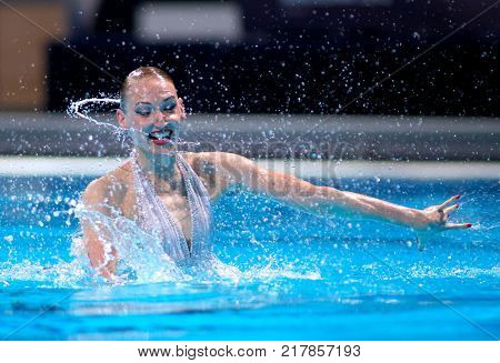 BARCELONA, SPAIN - JULY, 24: Svetlana Romashina of Russia during a Solo Synchronised Swimming event of World Championship BCN2013 on July 24, 2013 in Barcelona Spain