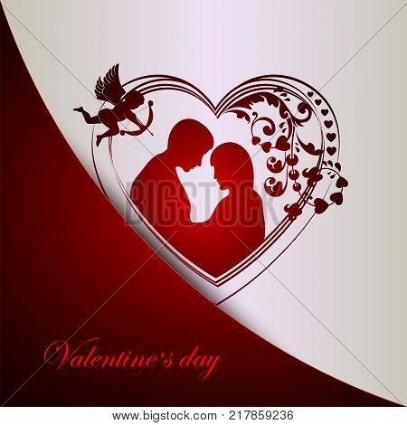 red white background with silhouette of heart with couple in love and cupidon