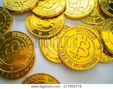 The Golden Coin With Bitcoin Symbol .physical Bit Coin. Digital Money. Cryptocurrency. On White Back